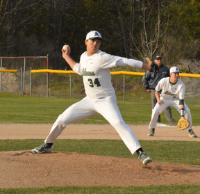 News Photo by Jonny Zawacki Alpena's Logan Guthrie throws a pitch during the second inning in game two of a baseball doubleheader on Wednesday at Alpena High School.