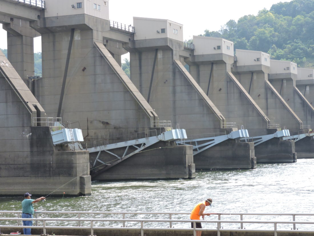Photo by Casey Junkins The Ohio side of the Pike Island Locks and Dam is a popular summer fishing spot. Dams such as this continue to be turned into hydroelectric plants along the Ohio River.