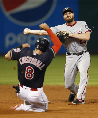 Washington Nationals' Daniel Murphy (20) throws to first after forcing out Cleveland Indians' Lonnie Chisenhall (8) at second base during the seventh inning of a baseball game Tuesday, July 26, 2016, in Cleveland. Rajai Davis was out at first. (AP Photo/Ron Schwane)