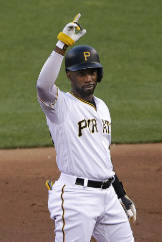 Pittsburgh Pirates' Andrew McCutchen stands on second base after driving in a run with a double off Seattle Mariners starting pitcher James Paxton in the third inning of a baseball game in Pittsburgh, Wednesday, July 27, 2016. (AP Photo/Gene J. Puskar)