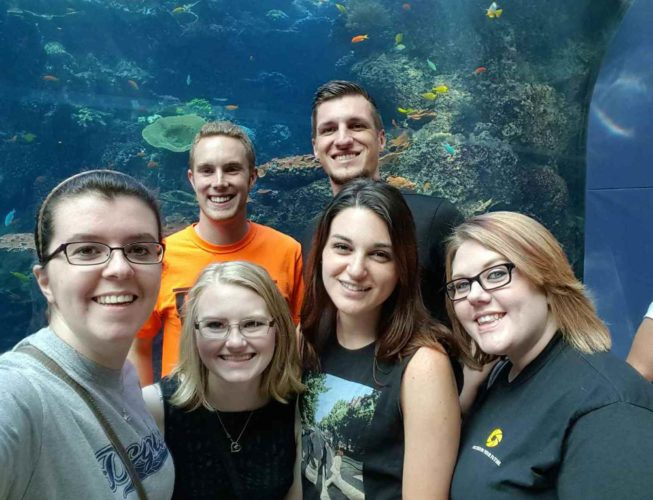 Photos Provided Front from left, Rebecca Smith, Sarah Jones, Catherine Tate and Ashley Cole, and back, Hayden Blazer, left, and Hunter Craft visit the Georgia Aquarium while attending the Future Business Leaders of America Phi Beta Lambda competition in Atlanta.