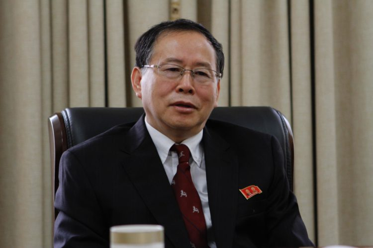 "Han Song Ryol, director-general of the U.S. affairs department at North Korea's Foreign Ministry, talks during an interview with the Associated Press in Pyongyang, North Korea, Thursday, July 28, 2016. Han said that Washington ""crossed the red line"" and effectively declared war by putting leader Kim Jung Un on its list of sanctioned individuals and said a vicious showdown could erupt if the U.S. and South Korea hold annual war games as planned next month. (AP Photo/Kim Kwang Hyon)"