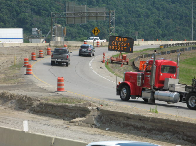 Photo by Mark Law The eastbound entrance ramp to the U.S. 22 Veterans Memorial Bridge at University Boulevard in Steubenville will close on Monday for nearly three weeks, according to the Ohio Department of Transportation.