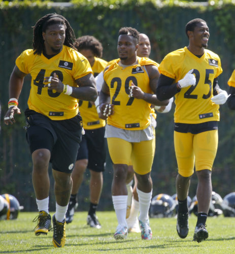 FILE - In this May 24, 2016, file photo, Pittsburgh Steelers linebacker Bud Dupree (48), left, warms up with teammates during an NFL football practice, in Pittsburgh. Dupree is ready to make a leap. After a so-so rookie season, the outside linebacker dropped 20 pounds too become quicker as he tries to become the pass rushing force the Steelers envisioned when they took him in the first round of the 2015 draft.  (AP Photo/Keith Srakocic, File)