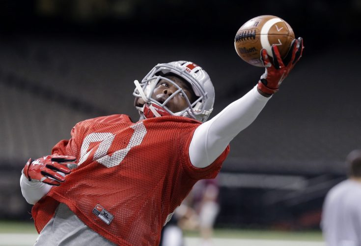 AP Photo / In this Dec. 29, 2014, file photo, Ohio State wide receiver Noah Brown going through drills during practice at the Mercedes-Benz Superdome in New Orleans. The departure of the Ohio State's 3 best receivers makes for a jumbled depth chart as the Buckeyes prepare for the 2016 season. There is lots of talent and potential, definitely _ this is Ohio State, after all _ but not a lot of guys who have highlight videos yet.