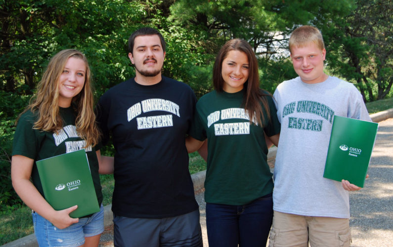 Photo Provided From left, recent high school graduates Abby Swallow, Beallsville; Hugh McPeek, Buckeye Trail; Rachel Zeroski, Buckeye Local and Kyle Carpenter, Beallsville, gather before classes begin at Ohio University Eastern in St. Clairsville. These valedictorians and salutatorians, along with Halie Trouten from Buckeye Local and Megan Lattocha from Union Local, chose to stay close to home to pursue their higher education goals.