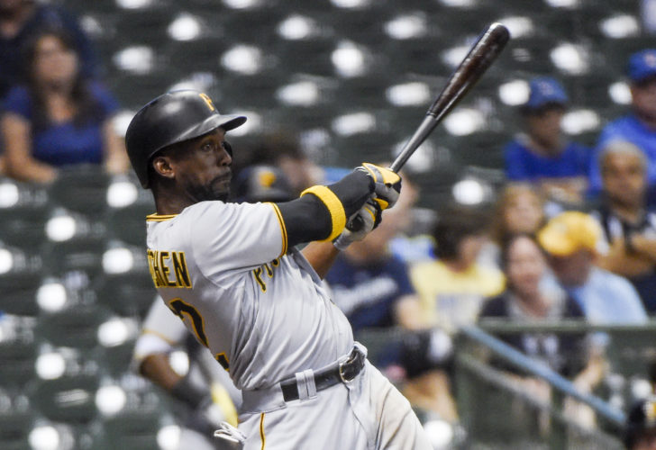AP Photo / Pittsburgh Pirates' Andrew McCutchen drives in John Jaso with a base hit during the 10th inning of a baseball game against the Milwaukee Brewers on Thursday, Aug. 25, 2016, in Milwaukee.