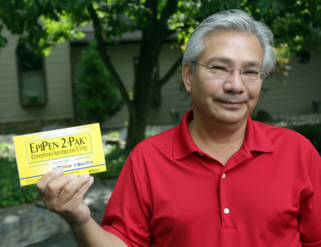 Frank Scavo of Old Forge, Pa., refused to pay what he felt where exorbitant prices for an EpiPen. It nearly cost him his life Tuesday evening, he ended up making it to the hospital. He bought an EpiPen for $600 on Thursday, Aug. 25, 2016.  (Jake Danna Stevens/The Times & Tribune via AP)