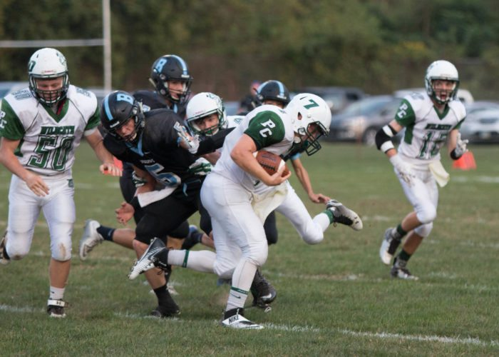Photo by Sherri McAninch Paden City's Hayden Hizer looks for running room against Bridgeport.