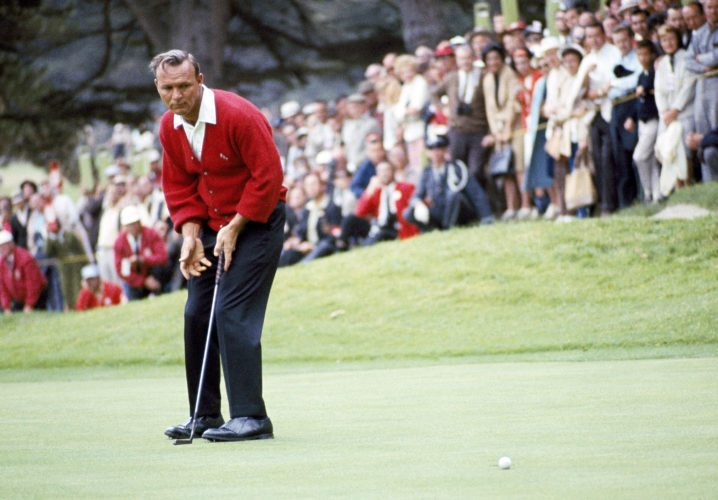 "File-This June 19, 1966, file photo shows Arnold Palmer in action during the U.S.Open Golf Championship at Olympic Country Club, San Francisco, Calif.  Palmer, who made golf popular for the masses with his hard-charging style, incomparable charisma and a personal touch that made him known throughout the golf world as ""The King,"" died Sunday, Sept. 25, 2016, in Pittsburgh. He was 87. (AP Photo, File)"