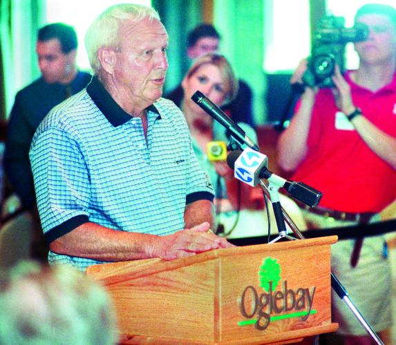 File Photo byScott McCloskey Arnold Palmer speaks at a press conference at Oglebay in 1997 announcing the buliding and design of the Palmer Golf Course.