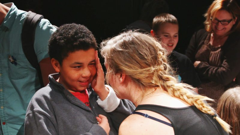 Photo Provided A new study from the Nisonger Center at The Ohio State University Wexner Medical Center shows children with autism had improved communication and language skills after 10 weeks of Shakespeare classes. Above, a study participant interacts with a leader.