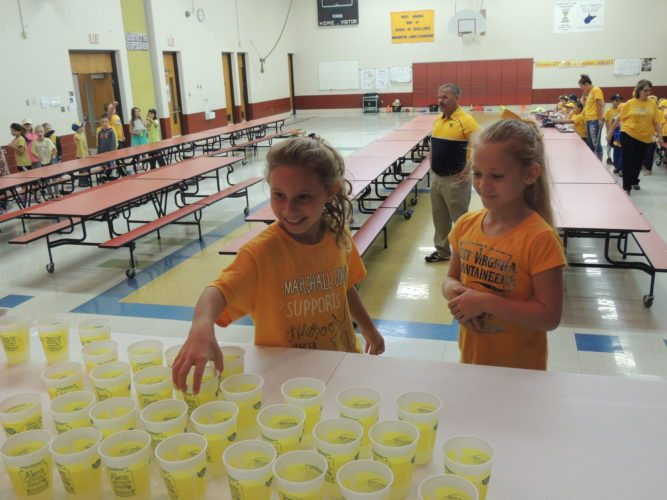 Photo by Drew Parker / Washington Lands Elementary School students Karleigh Stricklin, left, and Marley Kittle sample lemonade Thursday.