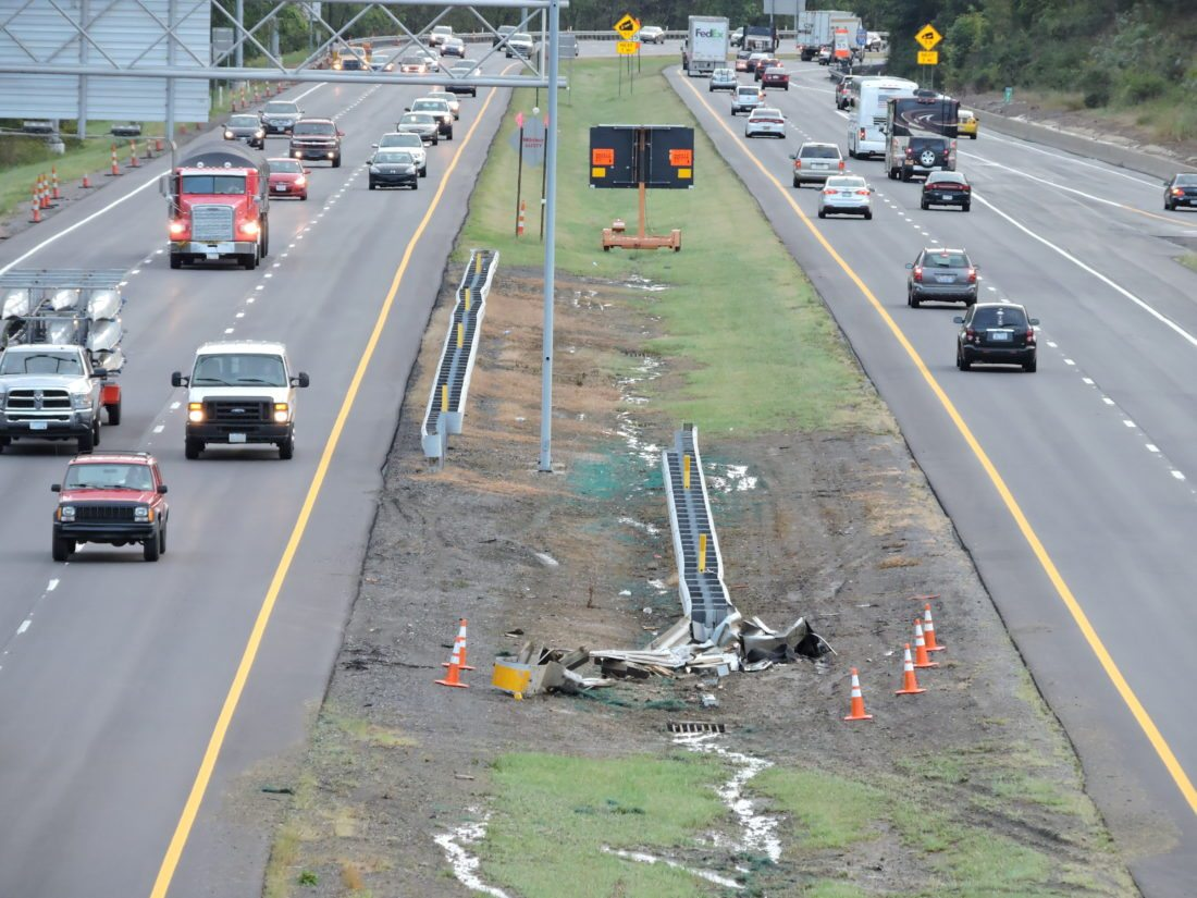 Photo by Casey Junkins Tire tracks through the median and a mangled guard rail mark the site of a fatal accident that occurred on Interstate 70 east near The Highlands late Thursday.