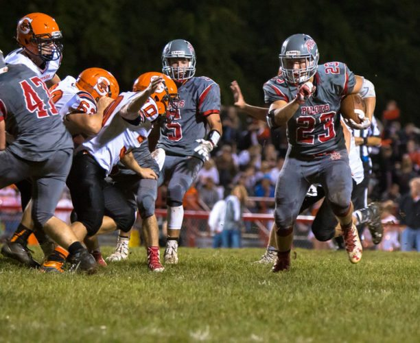 Photo by Sheri McAninch / River's Drew Wagnild (23) finds some running room during Friday's game against Shadyside.