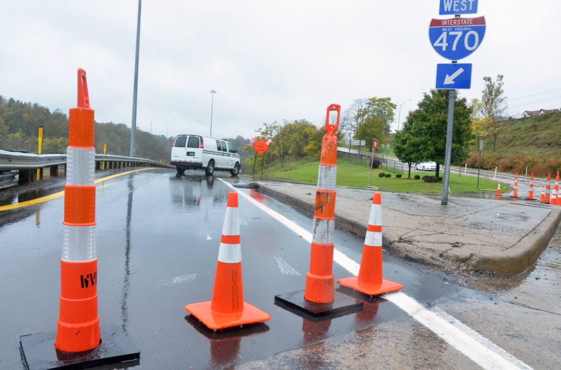 Photo by Scott McCloskey Traffic cones block the westbound entrance ramp to Interstate 470 in Bethlehem on Friday.
