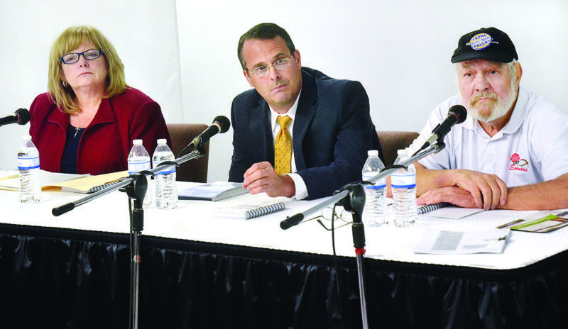 Photo by Scott McCloskey Debating Monday evening at West Virginia Northern Community College in New Martinsville, from left, are 2nd District state Senate candidates Lisa Zukoff, Dr. Mike Maroney and H. John Rogers.