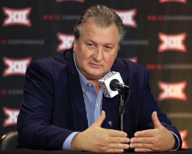 West Virginia coach Bob Huggins answers a reporters question during Big 12 NCAA college basketball media day in Kansas City, Mo., Tuesday, Oct. 25, 2016. (AP Photo/Orlin Wagner)