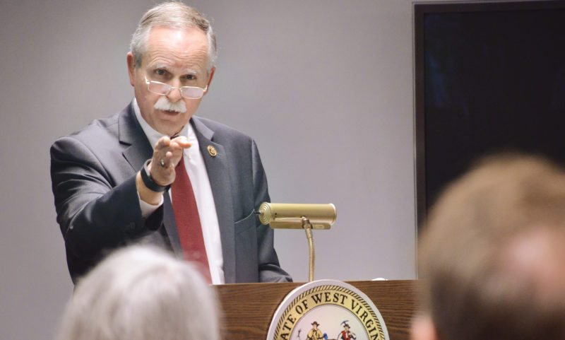 Photo by Scott McCloskey Rep. David B. McKinley, R-W.Va., speaks about historic rehabilitation tax credits at West Virginia Independence Hall in Wheeling Wednesday.