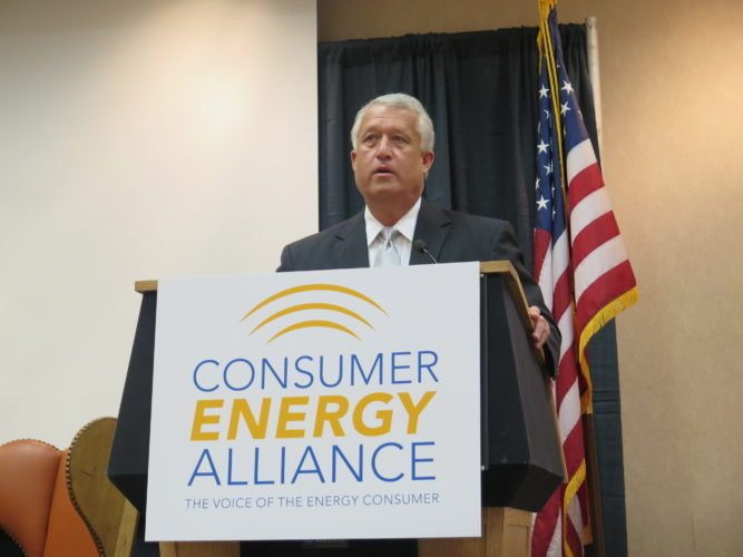 Photo  by Joselyn King West Virginia gubernatorial candidate Bill Cole addresses the West Virginia Energy and Manufacturing Forum Wednesday at Oglebay Park in Wheeling.