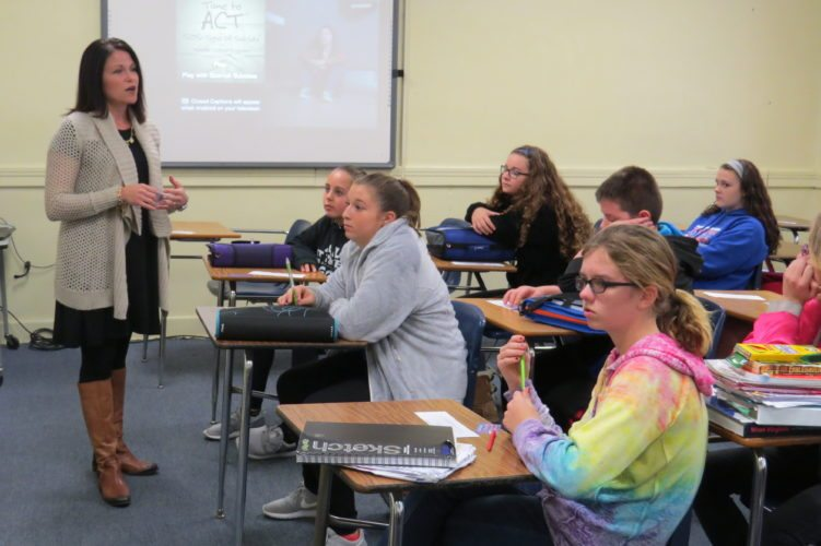 Photo Provided School counselor Betsy Jones teaches Triadelphia Middle School students how to identify signs of troubling behavior.