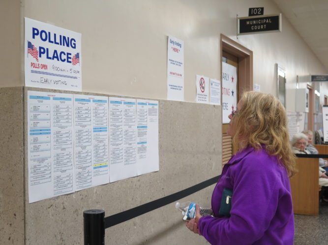 Photo by Joselyn King Debbie Ott of Warwood examines the Nov. 8 general election sample ballot prior to casting an early vote Wednesday.