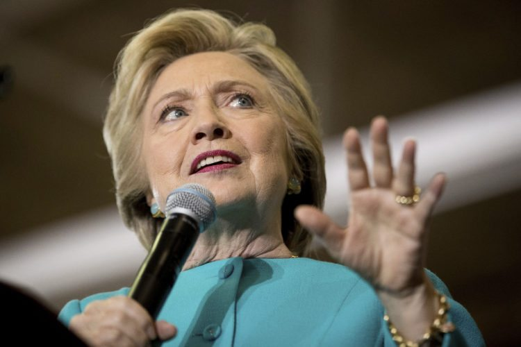 Democratic presidential candidate Hillary Clinton speaks at a rally at Palm Beach State College in Lake Worth, Fla., Wednesday, Oct. 26, 2016. Clinton appears on the cusp of a potentially commanding victory. Amid solid Democratic turnout in early voting, a new AP-GfK poll finds her with a set of decisive advantages over Donald Trump, including growing enthusiasm for her campaign and a dark mood towards his. (AP Photo/Andrew Harnik)