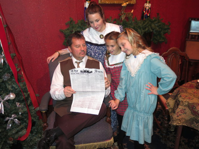 "Photos by Betsy Bethel The O'Hanlon family members in ""Yes, Virginia, There Is a Santa Claus,"" are played by, from left, Charlie Dodd, Elizabeth Jeffers,  Kearstin Zeroski and Reagan Hughes. The production continues today and next weekend at Oglebay Institute Towngate Theatre in Center Wheeling."