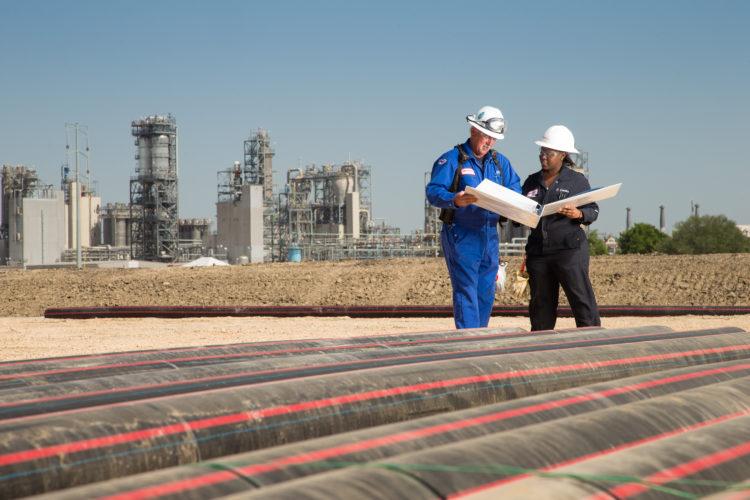 ExxonMobil Mont Belvieu Plastics Plant expansion in Mont Belvieu, Texas on April 29, 2014. © 2014 Robert Seale/All Rights Reserved.