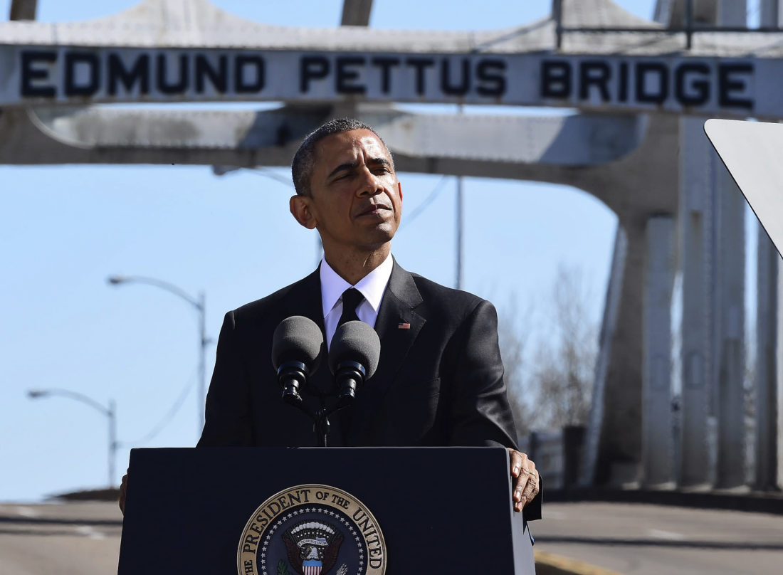 FILE - In this March 7, 2015 file photo, President Barack Obama speaks near the Edmund Pettus Bridge, in Selma, Ala. The farewell address President Barack Obama plans to deliver Tuesday will continue a tradition established by the nation's first president more than two centuries ago. (AP Photo/Bill Frakes, File)
