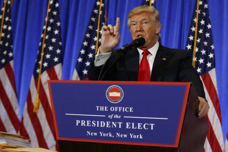 President-elect Donald Trump speaks during a news conference in the lobby of Trump Tower in New York, Wednesday, Jan. 11, 2017.  (AP Photo/Evan Vucci)