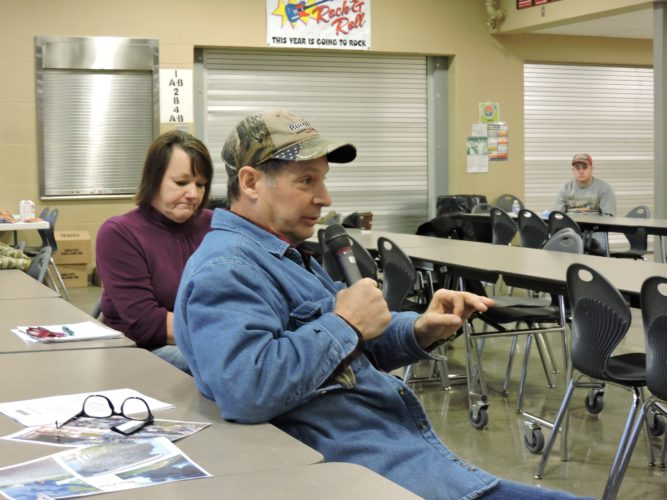 Photo by Janell Hunter Noble County residents Sandra and Joe Perebzak claim they have been adversely affected by the oil and gas industry at a community listening session on Saturday at River High School.