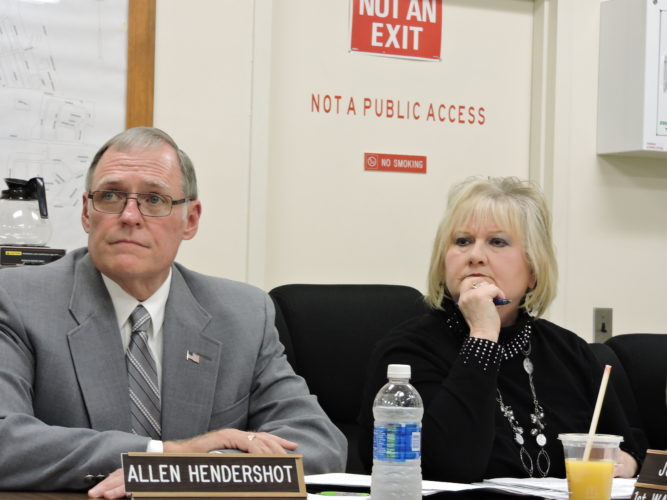 Photo by Alan Olson Moundsville City Council members Allen Hendershot and Judy Hunt weigh in on the Four Seasons Pool.