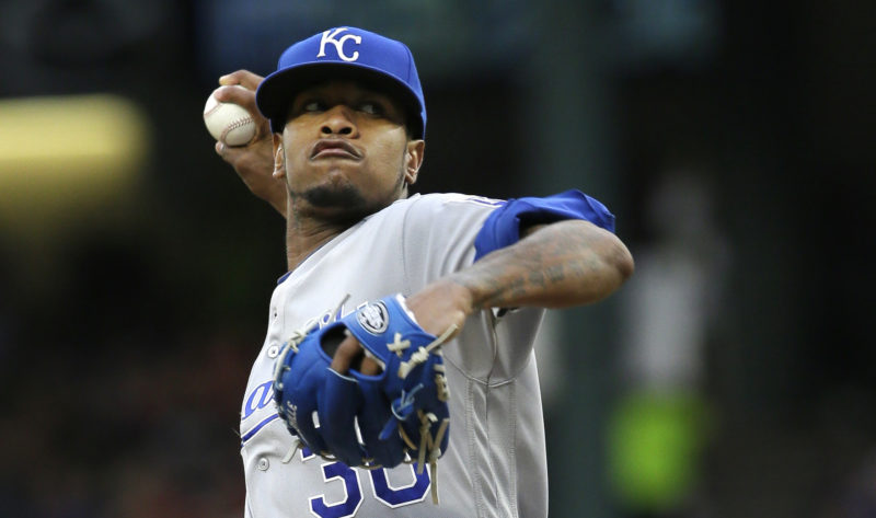 FILE - In this Thursday, July 28, 2016, file photo, Kansas City Royals starting pitcher Yordano Ventura throws during the first inning of a baseball game against the Texas Rangers in Arlington, Texas. Authorities in the Dominican Republic said Sunday, Jan. 22, 2017, that Ventura and former major leaguer Andy Marte both have died in separate traffic accidents. (AP Photo/LM Otero, File)