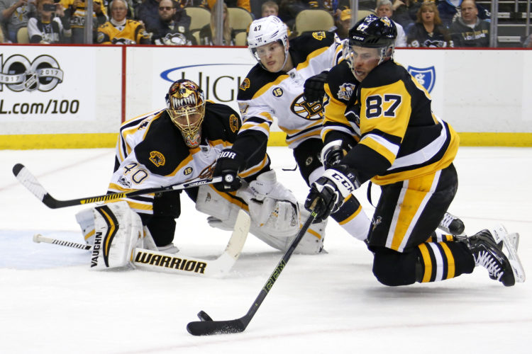 Pittsburgh Penguins' Sidney Crosby (87) tries to shoot in front of Boston Bruins' Torey Krug (47) and goalie Tuukka Rask, rear, during the second period of an NHL hockey game in Pittsburgh, Sunday, Jan. 22, 2017. (AP Photo/Gene J. Puskar)
