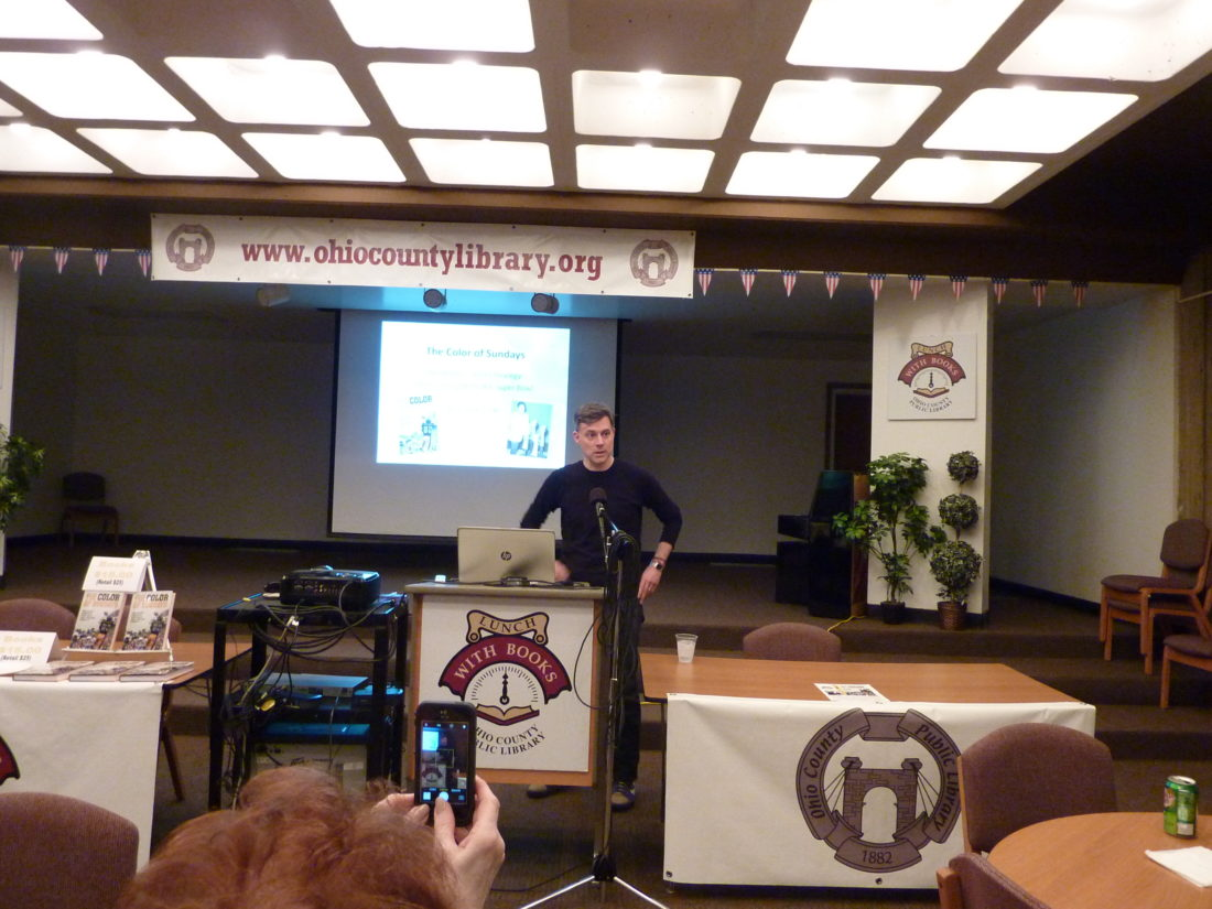Photo by Linda Comins Speaking at the Ohio County Public Library, author Andrew Conte discusses scout Bill Nunn Jr.'s contributions to the Pittsburgh Steelers' success in the 1970s. Conte, who lives in Pittsburgh, has relatives in West Virginia, primarily in the Elkins area.