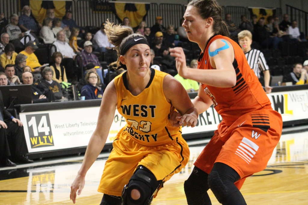 Photo provided by WLUAthletics West Liberty's Emily Bucon drives to the bucket during Thursday night's game.