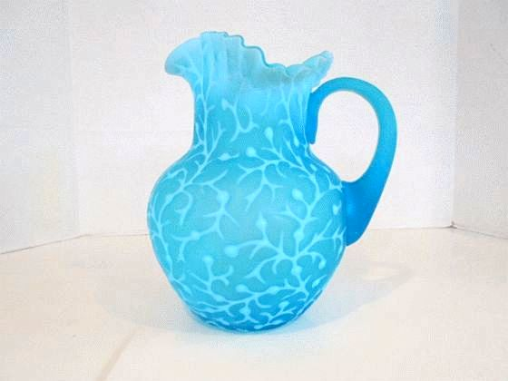 Blue opalescent glass in the seaweed pattern by Hobbs, Brockunier, makes for an exceptional pitcher for Wheeling collectors.