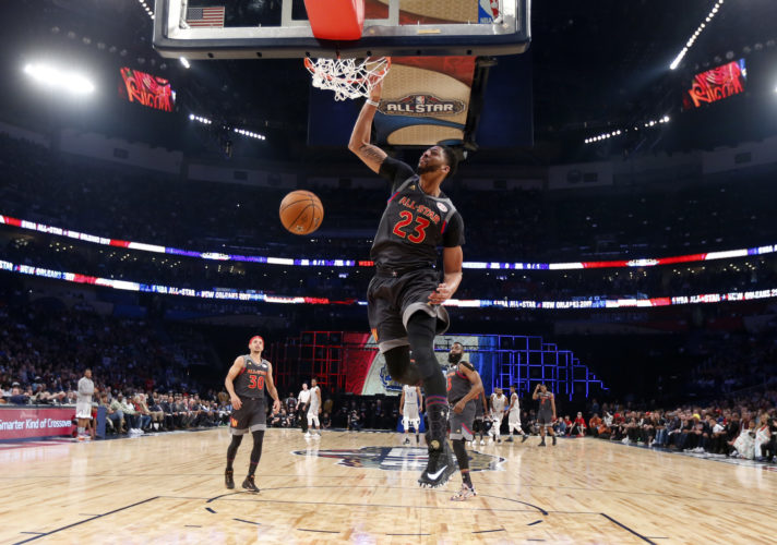 Western Conference forward Anthony Davis of the New Orleans Pelicans (23 ) slam dunks during the first half of the NBA All-Star basketball game in New Orleans, Sunday, Feb. 19, 2017. (AP Photo/Gerald Herbert, Pool)