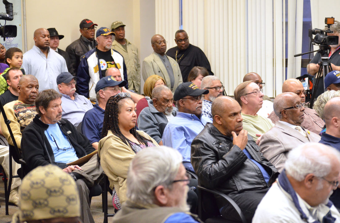 Photo by Scott McCloskey A capacity crowd packs council chambers at the City-County Building Tuesday for a public hearing concerning the future of the American Legion Post 89 in East Wheeling.