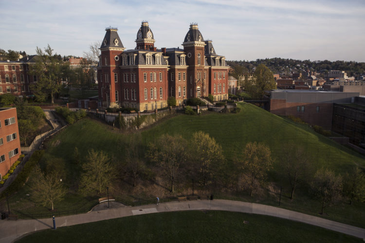 Woodburn Hall on West Virginia University downtown campus, Saturday, April, 24, 2015, in Morgantown, W.Va. (AP Photo/Raymond Thompson)