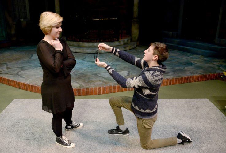 "Photo Provided Magnolia High School students Cassi Smith, left, and Ryan Horn portrayed Katherina and Petruchio, respectively, in a scene from ""The Taming of the Shrew,"" which took the top prize in the scene category for grades 8-12 at the Shakespeare Monologue & Scene Contest at Pittsburgh Public Theater on Monday."