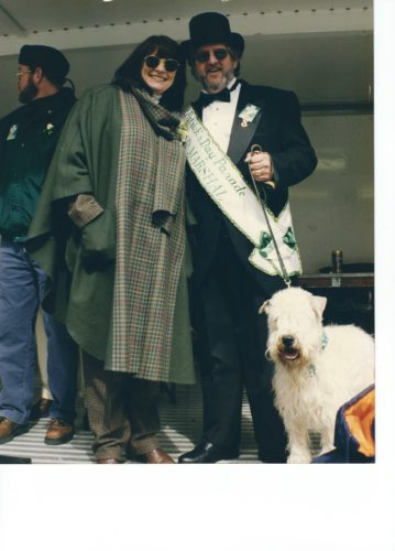 Janice and Terry Griffith, along with their Wheaten terrier Finbar, greet revelers from the reviewing stand at the Pittsburgh St. Patrick's Day parade in 1999, when Terry was grand marshal. Janice is the 2017 grand marshal.