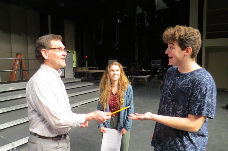 Photo Provided Wheeling Park High School Speech and Debate Coach Bill Cornforth discusses the upcoming state competition with co-captain Miriam Demasi and division leader Adam Payne.