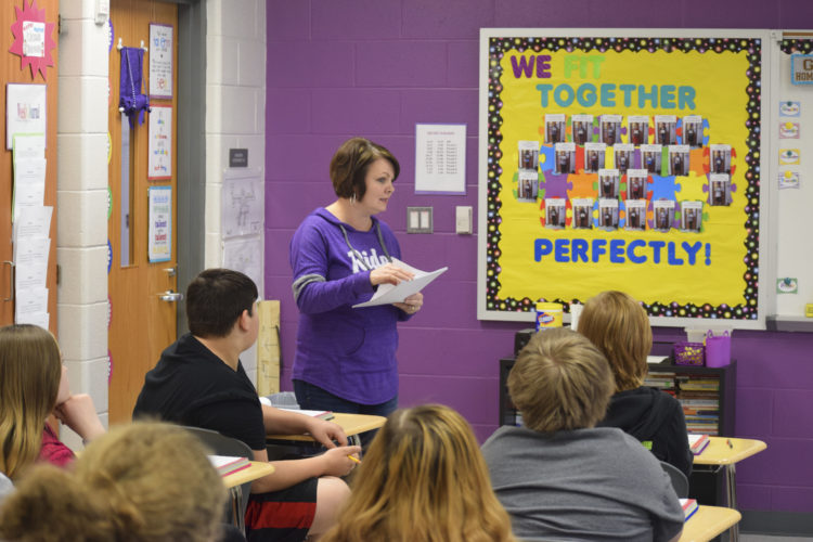Photo by Dylan McKenzie Martins Ferry Middle School teacher Debbie Lucas teaches her language arts class on Friday afternoon.