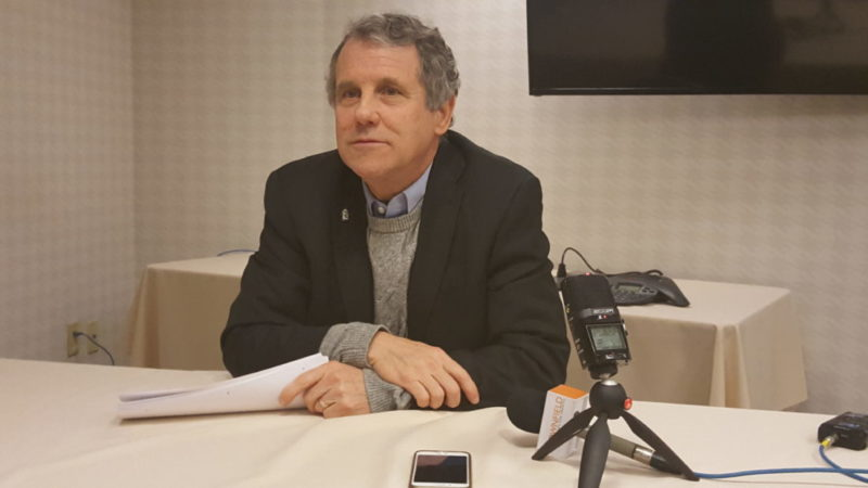 Photo by Paul Giannamore U.S. Sen. Sherrod Brown, D-Ohio, meets reporters after his breakfast with the presidents of the Ohio Farm Bureau in Washington.