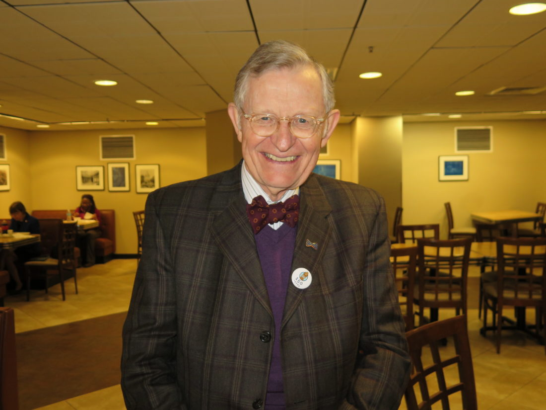 "Photo by Joselyn King West Virginia University President E. Gordon Gee takes a lunch break in the cafeteria at the Capitol in Charleston in between ""Higher Education Day"" events at the Legislature on Wednesday."
