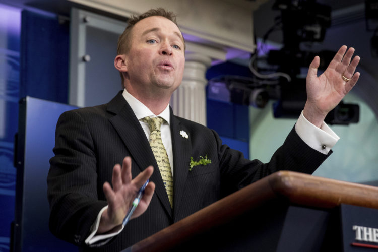 Budget Director Mick Mulvaney speaks about the Trump Administration's budget proposal during daily press briefing at the White House in Washington, Thursday, March 16, 2017. (AP Photo/Andrew Harnik)