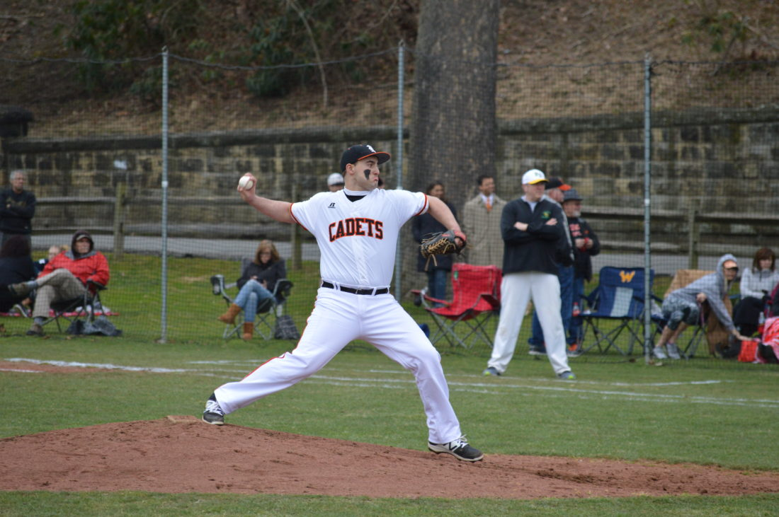 Photo by Josh Strope Linsly pitcher Frank Favede throws to the plate during Monday's season opener against Bishop Donahue at Holloway Field. Favede was the winning pitcher as the Cadets were victorious, 5-2.