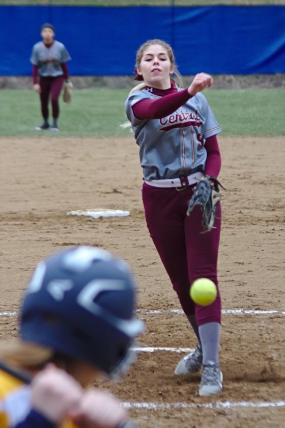 Photo by Bill Ferguson Wheeling Central's Riley Bennington delivers a pitch home during Wheeling Central's 11-1 victory over Cameron.